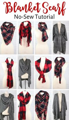 No-Sew Plaid Blanket Schal Tutorial – Knitting Blanket Scarf Sewing Hacks, Sewing Tutorials, Sewing Tips, Diy Fashion, Ideias Fashion, Fashion Sewing, Fashion Clothes, Trendy Fashion, Fashion Ideas