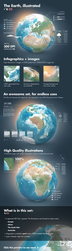 Earth Illustrated, 3D World and Infographics - V2