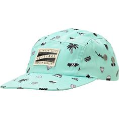 """Keep your headwear fun and in style with the Glamour Kills Everyday Mint 5 panel hat for girls in the Mint colorway. This camper hat was built with a comfortable polyester construction and features a custom Glamour Kills patch at the front, a Black strapback adjustment piece, a """"KLLS"""" logo tag and metal eyelets at the side. For added style there is are palm trees, skateboards, sharks, waves, hamburgers, diamonds and the GLMR KLLS flying pig logos printed throughout. For a hat that you can…"""