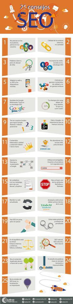 25 consejos SEO. Te ayudarán a mejorar tu blog. Infografía en español.