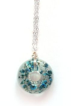 Teal Baby's Breath Necklace Real Baby Breath in by ScrappinCop, $15.00