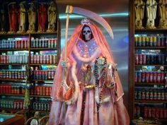 Santa muerte shrine in a botanica