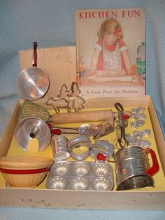 Child's aluminum baking set; 1950s ~I played with my big sister's set because it was made to last. ~