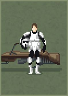 Casual Scout Trooper Created by Mazeon Artist:. Cool Pixel Art, Oneplus Wallpapers, Star Wars Stickers, Pixel Animation, 8bit Art, Star Wars Facts, Pixel Art Games, War Comics, Art Images