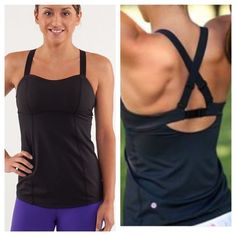 Lululemon catch me tank in black Excellent condition! Size 4. Size for confirmed. No tear away tag. Medium support. Padding included. Luxtreme 4 way stretch. Adjustable shoulder straps and back hook.  no trades lululemon athletica Tops Tank Tops