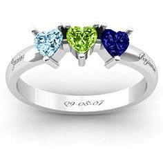 Triple Heart Stone Ring #jewlr  Our birthstones and the stone corresponding to our anniversary