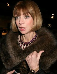 Anna Wintour - Style Icon - The Jewel Expert, Amethyst choker sat on a rubellite tear drop necklace