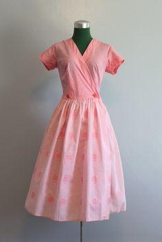 Vintage Dress / 1950s Wrap Dress / 50s Pink Day Dress. $64.00, via Etsy.