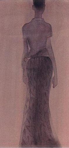 Fashion illustration by Mats Gustafson, 1997, Prada, Italian Vogue, watercolour.