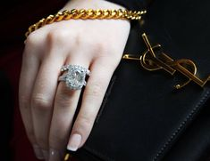 Showcasing this Henri Daussi cushion cut engagement ring with one of our faves YSL.