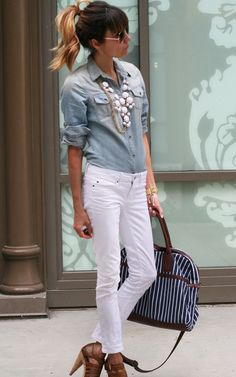 Jeans shirt and white pants!! Spring is coming!