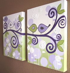 Wall Art, Lavender Purple and Green Modern Bird Nursery Art,  Two 12x16 Canvases, Made to Order via Etsy
