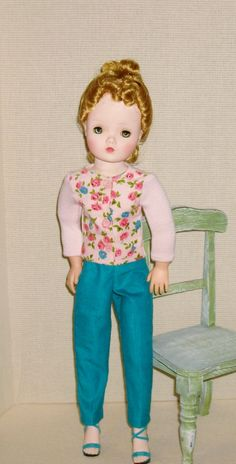 """Corduroy front, pink knit back, turquoise matching corduroy pants """"For Cissy By Janet"""""""