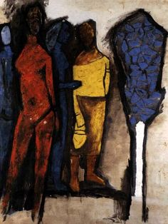 'Two Women' by M. F. Husain. The thick black lines remind me of Rouault.