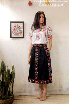 Batik Amarillis's Mexican embroidery ...Indonesia's traditional textile meets Mexican embroidery we love combining Mexican 's bold and beautiful embroidery with Indonesia's traditional textiles such as Batik and ikat.:
