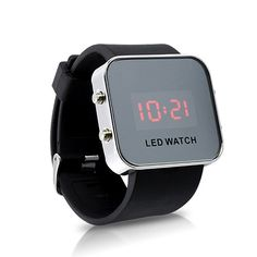Mirror LED Watch with Digital Display and Rubber Strap. Lighting up in bright red, this LED watch is a true eye catcher! Electronic Gadgets For Men, Electronics Gadgets, Technology Gadgets, High Tech Gadgets, Cool Gadgets, Modern Watches, Watches For Men, Led Watch, Presents For Men