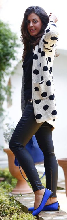 Fall/ winter outfit ideas. White And Black Polka Dot Cardi. Cobalt blue shoes.