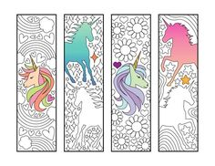 Unicorn Bookmarks – PDF Zentangle Coloring Page – Scribble & Stitch coloriage halloween à imprimer Unicorn Coloring Pages, Free Coloring Pages, Printable Coloring, Coloring Sheets, Coloring Books, Heart Bookmark, Unicorn Printables, Bookmarks Kids, Pin On