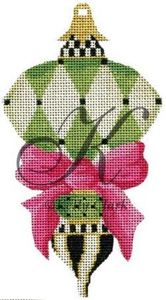 Cool Jade Harlequin by Kelly Clark Needlepoint on 18 mesh. Exclusive to A Stitch In Time in San Marino, CA.