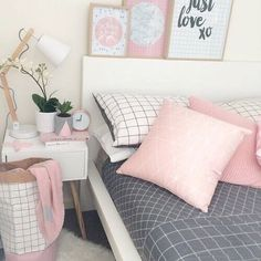 Image de pink, bedroom, and bed