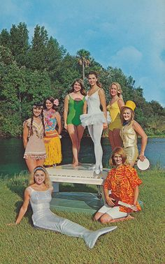 The entire cast of the Weeki Wachee Mermaids 1968 production, UNDERWATER DREAM GIRLS pose for photographers on the banks of the huge spring in which they present their daily underwater performances. The popular attraction is located north of Tampa, St. Petersburg and Clearwater on U.S. 19.