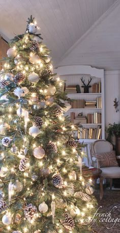 "FRENCH COUNTRY COTTAGE: I want trees with white lights, ""snowballs"" and pinecones lining the portico to our front door..."