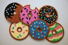 Donut coasters of ironing beads donuts ute beads drink coasters cup coasters Malen mit den Kindern Perler Bead Designs, Hama Beads Design, Diy Perler Beads, Perler Bead Art, Pearler Beads, Hama Beads Coasters, Perler Coasters, Melty Bead Patterns, Pearler Bead Patterns