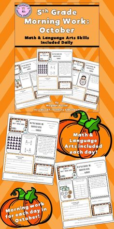 This resource includes 5th-grade morning work worksheets for October! Math and language arts activities are featured every day. All morning work worksheets are offered in both PDF and digital format. #vestals21stcenturyclassroom  #5thgrademorningwork #5thgrademorningworkworksheets #5thgrademorningworklanguagearts #5thgrademorningworkmath #5thgrademorningworkideas