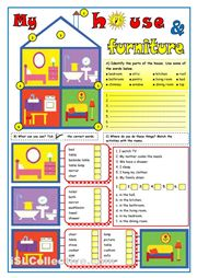 A useful worksheet for my house and furniture, while practicing present simple.