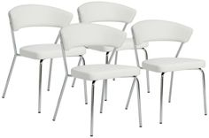 Draco Modern White 22 3/4-Inch-W Set of 4 Side Chairs - #EU2P805 - Euro Style Lighting