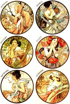 The months drawn my Mucha-So much more appealing/beautiful than the zodiac symbols as tattoos.