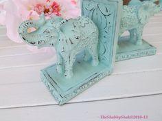 Elephant Book Ends / Shabby Chic / Office Decor / Elephant Statue /Aqua Home Decor, $42.00