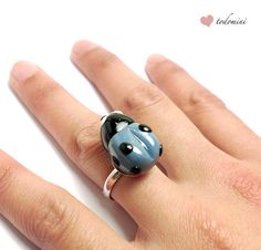 Polymer clay ring blue ladybug by todomini on Etsy, €6.00