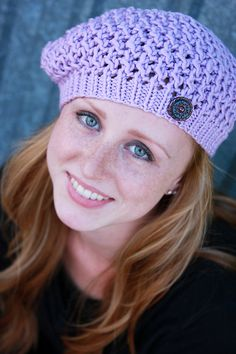 chunky lace hand-knit hat - lovely for fall, winter, spring. designed by: elena rosenberg
