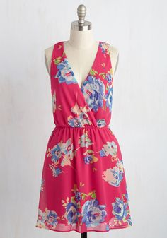 Botanical Garden Gambol Dress in Fuchsia. Flitting through the orchid garden in this flowy, fuchsia dress, you stop to admire a beauteous bloom. #pink #modcloth