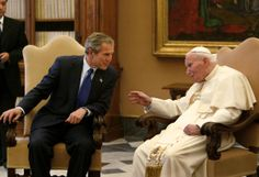 President George W. Bush meets with Pope John Paul II at the Vatican, Tuesday, May 28, 2002.