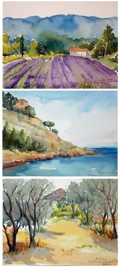 "Hands-On instruction in Watercolor Painting with Jo Williams. This and so much more is what you will experience during your ""A Week in Provence-Watercolor Experience"" with Artistic Gourmet Adventures and Jo Williams. Watercolor Pictures, Watercolor Landscape, Watercolour Painting, Landscape Art, Painting & Drawing, Landscape Paintings, Watercolors, Water Color Painting Landscape, Water Colour Painting Ideas"