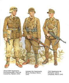 Afrikakorps 1941-1943 - 1 Offizier, 200 Regiment Panzergrenadieren, Kasserine 1943 - 2 Mann, 961 Afrika Regiment, 1943 - 3 Jaeger, 756° Regiment Gebirgsjaeger, 1943