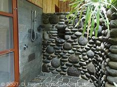 river rock shower- planning on doing something like this in the master bath <3