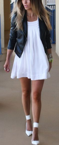 Summer White Mini Dress Top Black Leather Jacket