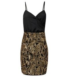 Parisian Black Sequin Triangle Contrast Dress