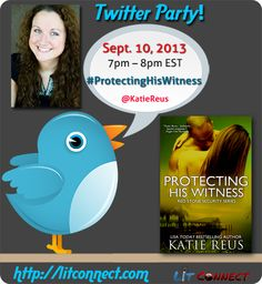 Congrats to Katie Reus on her upcoming new release of Protecting His Witness in September! If you want to help celebrate and attend the twitter party, just follow along.. http://events.litconnect.com/twitter-party-protecting-his-witness-by-katie-reus/