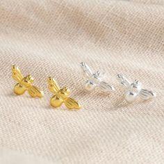 Tiny Stud Earrings, Silver Drop Earrings, Pearl Studs, Summer Jewelry, Sterling Silver, Bee, Butterfly, Posts, Gold