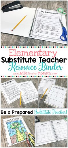 Be a prepared substitute teacher with this MEGA bundle! This resource binder includes a full day of sub plans for Kindergarten through 6th grades. It also includes a ton of bonus material, such as a planning calendar, a page for your sub info, an end of day form, substitute punch cards, plus even more bonus lessons and coloring pages! Every elementary substitute teacher needs this binder.