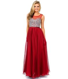 Burgundy Crystal Beaded Chiffon Long #Prom Dress #uniqueprom