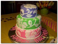 I've never seen a luau cake like this one. Beautiful.