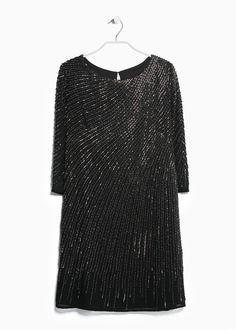 Sequin beaded dress - Dresses for Women | MANGO
