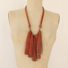 Three Horses: Leather Tassel Necklace