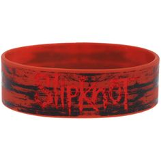 Slipknot Red Rubber Bracelet | Hot Topic (150 ZAR) ❤ liked on Polyvore featuring jewelry, bracelets, accessories, rubber bracelets, band merch, red jewelry, rubber bangles, rubber jewelry and red bangles