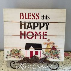 Wooden Sign Pallet Board Bless This Happy Home//